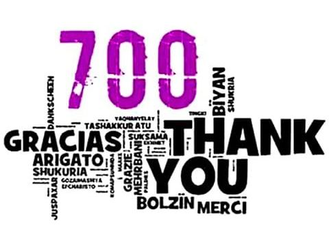 Thank you to all my 700 Followers!