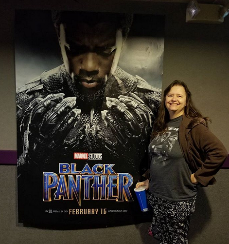 me with Black Panther poster