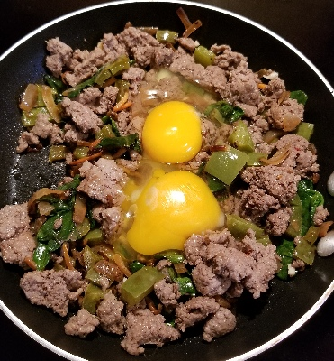 turkey sausage, eggs, and spinach