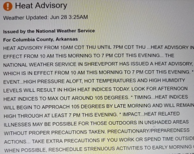 heat advisory email