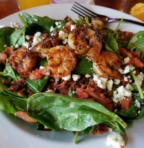 Hooters shrimp and spinach salad