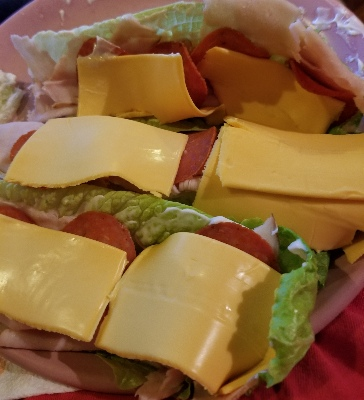 turkey and cheese on lettuce